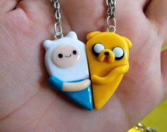The original Adventure Time Finn and Jake friendship couple love heart necklaces