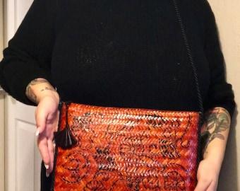 Asian Inspired Red Woven Shoulder Bag