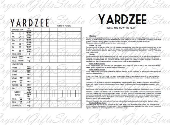 YARDZEE printable + svg, yardzee score card, yardzee rules