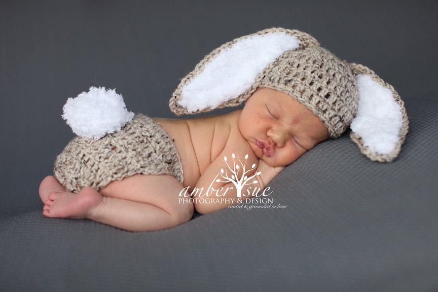 Crochet Baby Hat Easter Bunny Rabbit Ears Photo Prop Diaper