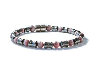 Black Magnetic Bracelet w/ Amethyst Cat's Eye Beads, Men's Therapy Jewelry