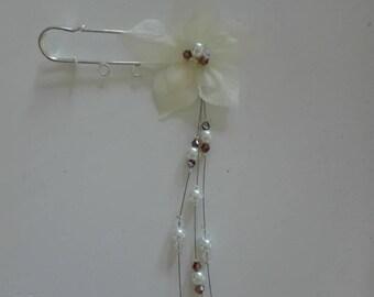 tie behind back train ivory pearls / Brown / transparent silk wedding flower, wedding dress, evening