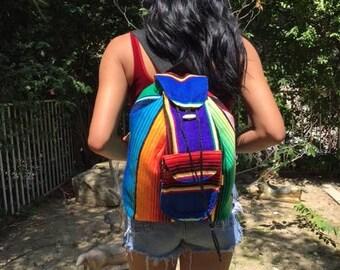 Serape backpack,Mexican backpack,backpack bag,rainbow,blue,orange,red,green,purple blue,pink,back pack
