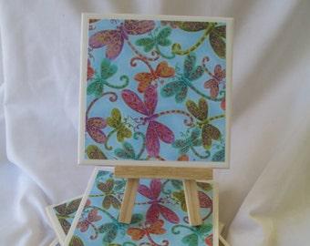 Dragonfly Ceramic Tile Coasters Set of 4, handmade, Drink Coasters, hostess gift, barware, Home Decor, DragonFlies, blue coasters
