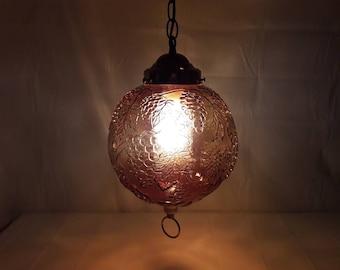 Vintage 1970s Hanging Glass Swag Lamp