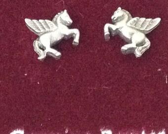 Pegasus Winged Horse Pierced Post Pewter Earrings ts15-002