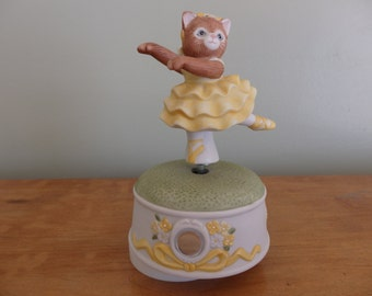 """Kitty Cucumber Musical Collectible Ballerina music box plays """"Thank Heaven for Little Girls"""" dated 1987"""