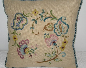 embroidered pillow . burlap  pillow . embroidered burlap pillow . spring flower pillow