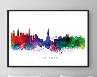 New York Skyline, NYC Cityscape, Art Print, Wall Art, Watercolor, Watercolour Art Decor [SWNYC01]