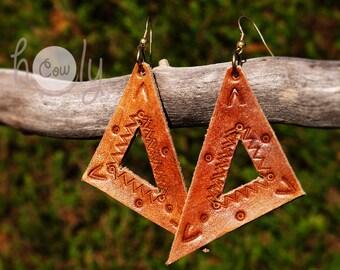 Handmade Brown Leather Boho Hippie Earrings, Tribal Earrings, Bohemian Earrings, Ethnic Earrings, Gypsy Earrings, Earrings, Gift For Her