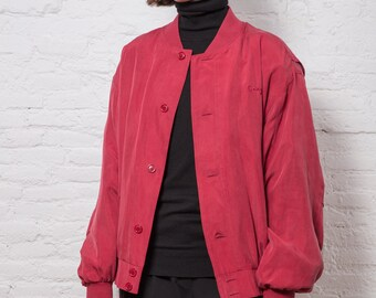 Vintage Red Buttons Silk Bomber Jacket