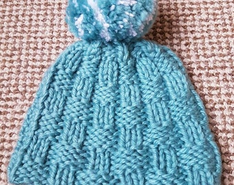 Turquoise Bobble Hat, childrens hat, knitted hat, wooly hat