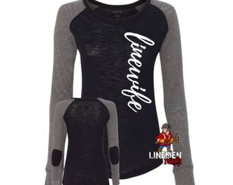 Linewife Script Patch Shirt for Lady's Who Love Their Lineman and the Line Life