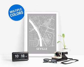 Seville Full Color Map Print | Seville Spain Map | Seville Art