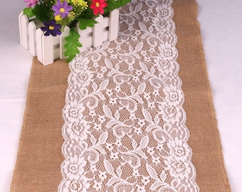 Rustic Burlap Lace Table Runner ,Wedding Decor Bridal Shower, Decorations Table Runners for Wedding