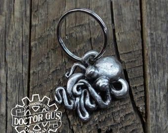Octopus Keychain - Handmade Artisan Pewter - Octopus Squid Tentacle Zipper Pull - Cthulhu Inspired Steampunk Cephalopod Swag by Doctorgus