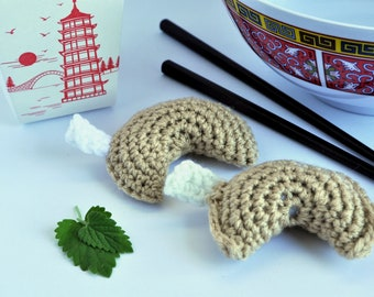Handmade Crochet Fortune Cookie Catnip Toy