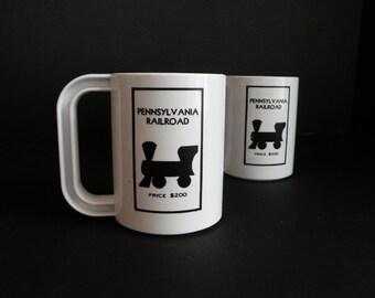 Black and White Monopoly Vintage Mug / Pennsylvania Railroad Train