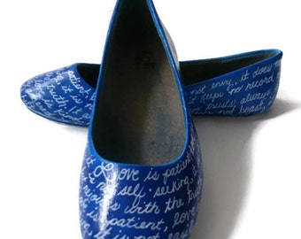 Hand Painted Wedding Shoes / Blue Wedding Shoes / Bible Verse Shoes / Women's Flats / Women's Shoes / Blue Wedding Flats / Custom Made Flats