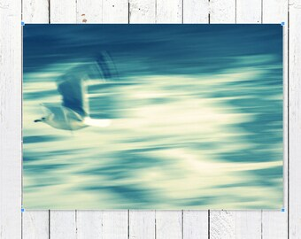 Coastal Wall Art Prints | Abstract Seagull Wall Art Print | Beach House Decor Photography Prints | Ethereal Ocean Waves Wall Decor Art Print