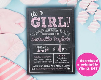 Printable Baby Shower Invitations | Baby Shower Girl | Instant Download | Blush Pink Chalkboard | New Baby Girl Shower | Rustic Baby Shower