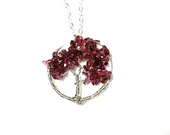 Tree of Life Pendant Necklace Amethyst Chips Gemstone Necklace Silver Wire Wrapped Family Tree Purple Stone Jewelry Necklaces for Women