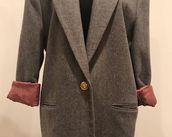 Vintage Wool Gray Blazer Oversized // 80s Coat // Menswear Inspired