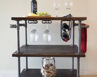 Industrial Rolling Bar Cart
