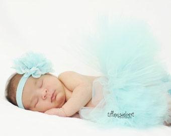 AQUA tutu....newborn tutu, baby tutu with matching headband, newborn photography prop.....birthday tutu