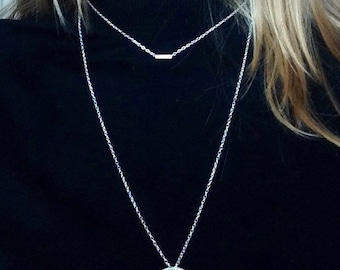 Long Sterling Silver Necklace, Layered Necklace, Silver Choker, Unusual Necklace, Double Drop Necklace, Circle Tube Necklace, Silver Jewelry