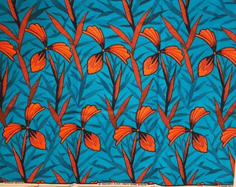 Floral Ankara, Ankara fabric, wax cotton fabric, African Print, Blue and Orange African Wax Print, sold by the yard