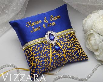 Burlap ring bearer pillow Royal blue wedding Ring bearer pillow ideas Royal blue and yellow wedding Royal blue weddings