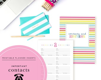 Contacts & Addresses Planner Inserts / Binder Kit  - A Printable PDF