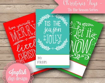 Printable Hand Lettered Christmas Tags - Hand Lettered Tags in Red, Teal and Green - INSTANT DOWNLOAD