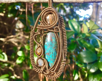 Antique brass multi stone wire wrapped pendant