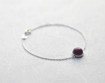 Red-glaze porcelain bracelet, Sterling silver bracelet 18K rose gold bracelet Ruby bracelet Red porcelain Red jewelry Gift for wife-boohua