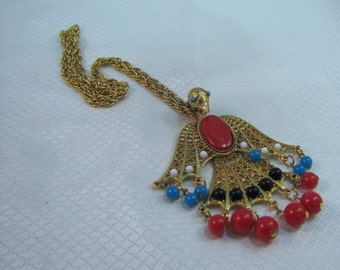 1960's Rising Phoenix Pendant and Gold Plated Chain