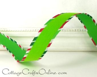 """Christmas Wired Ribbon, 7/8""""  Lime Green Velvet, Red, White, Green Striped Edging - THREE YARDS -  """"Velvet Diagonal"""" Wire Edged"""