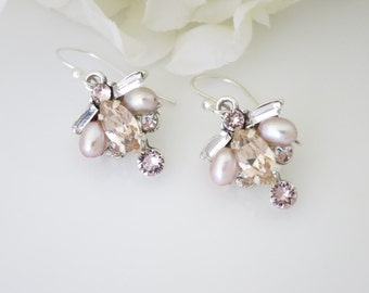Blush drop bridal earring, Swarovski crystal and pearl wedding earring, Pastel bridesmaid earring
