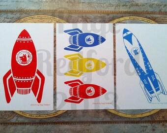 Retro Rocket Postcards: Set of 6