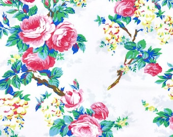 Sunny Isle Fabric - Garen White Fabric - Jennifer Paganelli Fabric - White Pink Blue Floral - Sisboom Fabric - One Yard Roses White Fabric