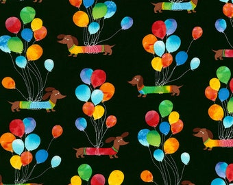 Dogs with Balloons Fabric; C5885; Last piece - 1.5 yards; Timeless Treasures Dog Fabric; Birthday Fabric; Weiner Dogs; Dachshund