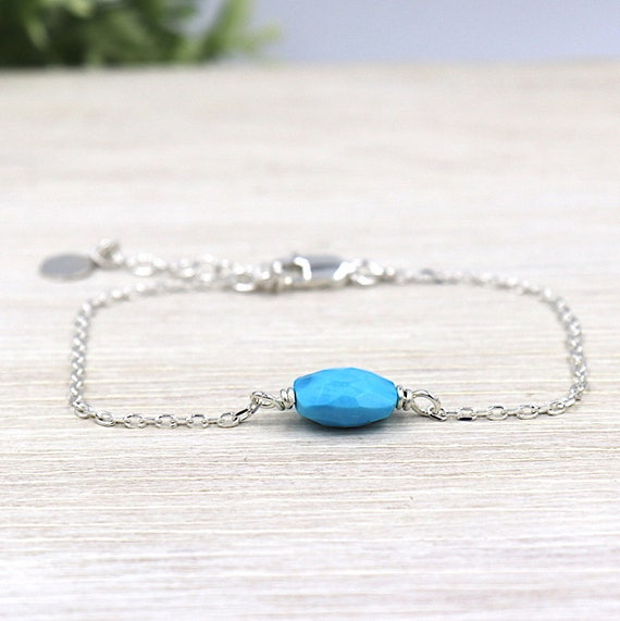 reconstituted turquoise faceted chain women bracelet 925 sterling silver
