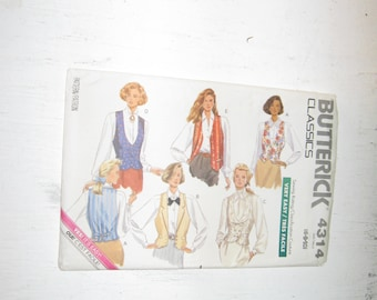 Uncut Factory Folds Butterick Pattern 4314 Very Easy 1980s Vest Pattern Double Breasted, Western, Tuxedo, Plus more Sizes 6, 8, And 10