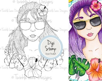 Tropical, Digi Stamp, Clipart Girl, Hibiscus, Tropical Flowers, Summer, Colouring Page, Printable, Line Art, Tropical Leaves, Palm Leaf