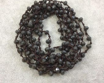"72"" Woven Dark Brown Thread Necklace with 6mm Faceted Glossy Finish Rondelle Opaque Espresso Brown Chinese Crystal Beads - (DB72CC-065)"