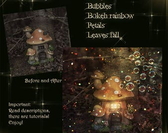 Enchanted kit. Overlay clipart , bubbles, glitter, rainbow bokeh, petals and leaves. For editing, composite photography, photo manipulation.