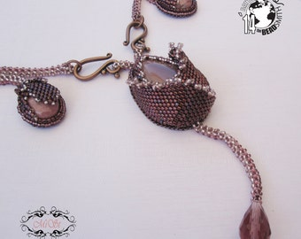 Beaded statement necklace OOAK - beadwork with crystals and rhodonite - Roses in my heart