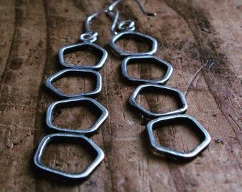 Long Sterling Silver Geometric Earrings