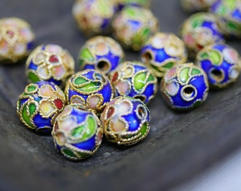 Chinese Cloisonne Beads 8mm Gold Blue Cloisonne Bead Enamel Beads Metal Beads (6 beads) CL19